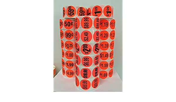 1000 Labels 1.5 Round Bright Red $1.99 Pricing Price Point Retail Stickers 1 Roll