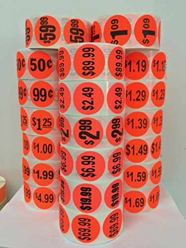 "1000 Labels 1.5"" Round Bright Red $3.99 Pricing Price Point Retail Stickers 1 Roll"