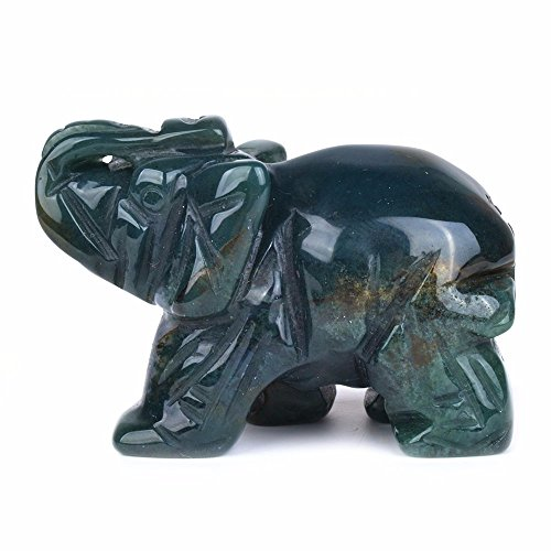 Carved Greenish Indian Agate Gemstone Elephant Healing Guardian Statue Figurine Crafts 2 inch