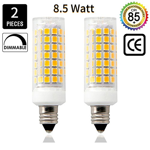 E11 Led Bulbs, 8.5 Watt, 75W 100W halogen bulbs replacement,850 lumens,Warm White 3000K JD T3/T4 E11 mini candelabra base 110V 120V 130 voltage input, CRI>85, (pack of 2) (Base E11 Mini Candelabra)