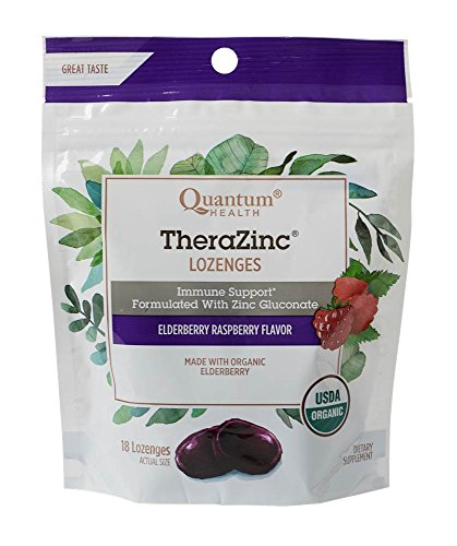 Quantum Health TheraZinc Elderberry Raspberry Lozenges, Immune Support in Tasty USDA Organic Drops for Cough Relief, Bagged, 18 Ct. ()