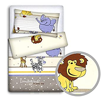 Baby Bedding Set Pillowcase Duvet Cover 2PC to FIT Baby COT Safari Blue