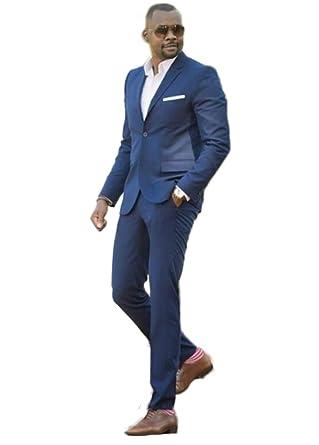Men Suit 2pc Notch Lapel One Botton Casual Fit Wedding Suit Guest