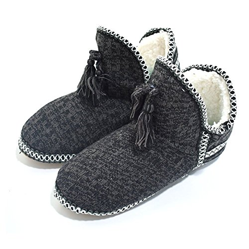 Knit Women's Cotton Q Slipper Ankle Insole Black Boots Quilted Warm Cashmere Indoor Foam Plus Booties House 5qtxt0f