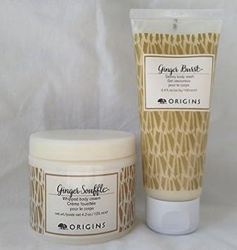 Origins Body Care Sets Ginger Souffle Whipped Body Cream 4.2oz, Burst Savory Body Wash 3.4oz