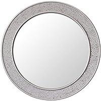 Glamour by Casa Chic - Round Mosaic Wall Silver Mirror - Large - 60 Centimetre Diameter - Bathroom Lounge Hallway