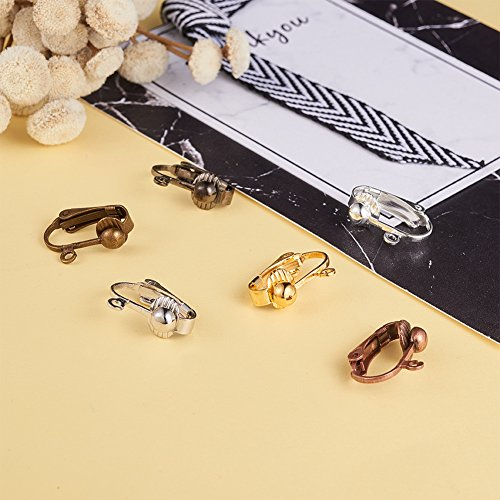 a97530c98 PandaHall Elite 36 Pcs Brass Clip-on Earring Converter Component 17x14x7mm  for Non-Pierced