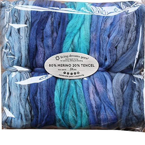 (Hand Dyed Merino Tencel Spinning Fiber. Super Soft Wool Top Roving drafted for Hand Spinning, Felting, Blending and Weaving. 5 Beautifully Colored Mini Skeins Discount Pack, Blues)