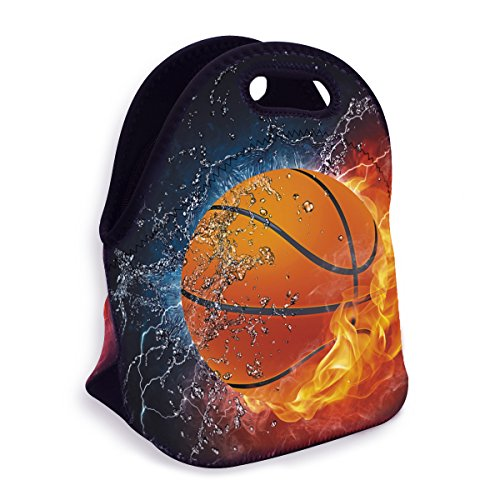 VIPbuy Water-resistant Neoprene Thermal Insulated Lunch Box Bag Tote Zippered for Men Kids Boys School Work Outdoor, Basketball Fan Novelty -