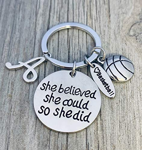 Personalized Basketball Keychains (Personalized Basketball Keychain- Basketball Gift- Custom Basketball Jewelry for Women & Girls, Perfect Gift for Basketball Players and)