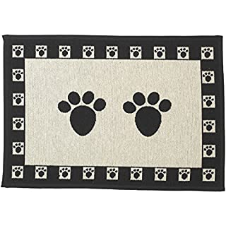 PetRageous Designed Tapestry Placemat for Pet Feeding Station, 13-Inch by 19-Inch, Paws, Natural/Black