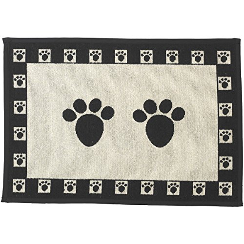 (PetRageous Designed Tapestry Placemat for Pet Feeding Station, 13-Inch by 19-Inch, Paws, Natural/Black)