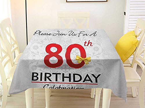 (L'sWOW Square Tablecloth 80th Birthday Birthday Party Invitation with Abstract Floral Backdrop Elderly Red Silver and Golden Western 60 x 60 Inch)