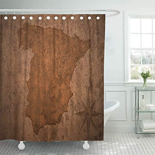 Emvency Shower Curtain Waterproof Polyester Fabric 72 x 78 inches Brown Antique Spain Map on Old Vintage Crack Adventure Aged Ancient Break Central Set Hooks Decorative Bathroom by Emvency