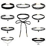 Elegant-Rose-Collier-Halskette-Set-Gothic-Tattoo-Spitze-Choker-Ketten-Stretch-Samt-Classic-schwarz-10PCS