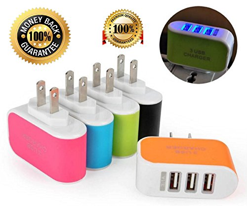Tri-Port USB Wall Charger 5V 3.1A LED Adapter US Travel Power Adaptor 3-Port USB Charger for iPhone Samsung HTC LG Nokia All Mobile Phones (Orange)