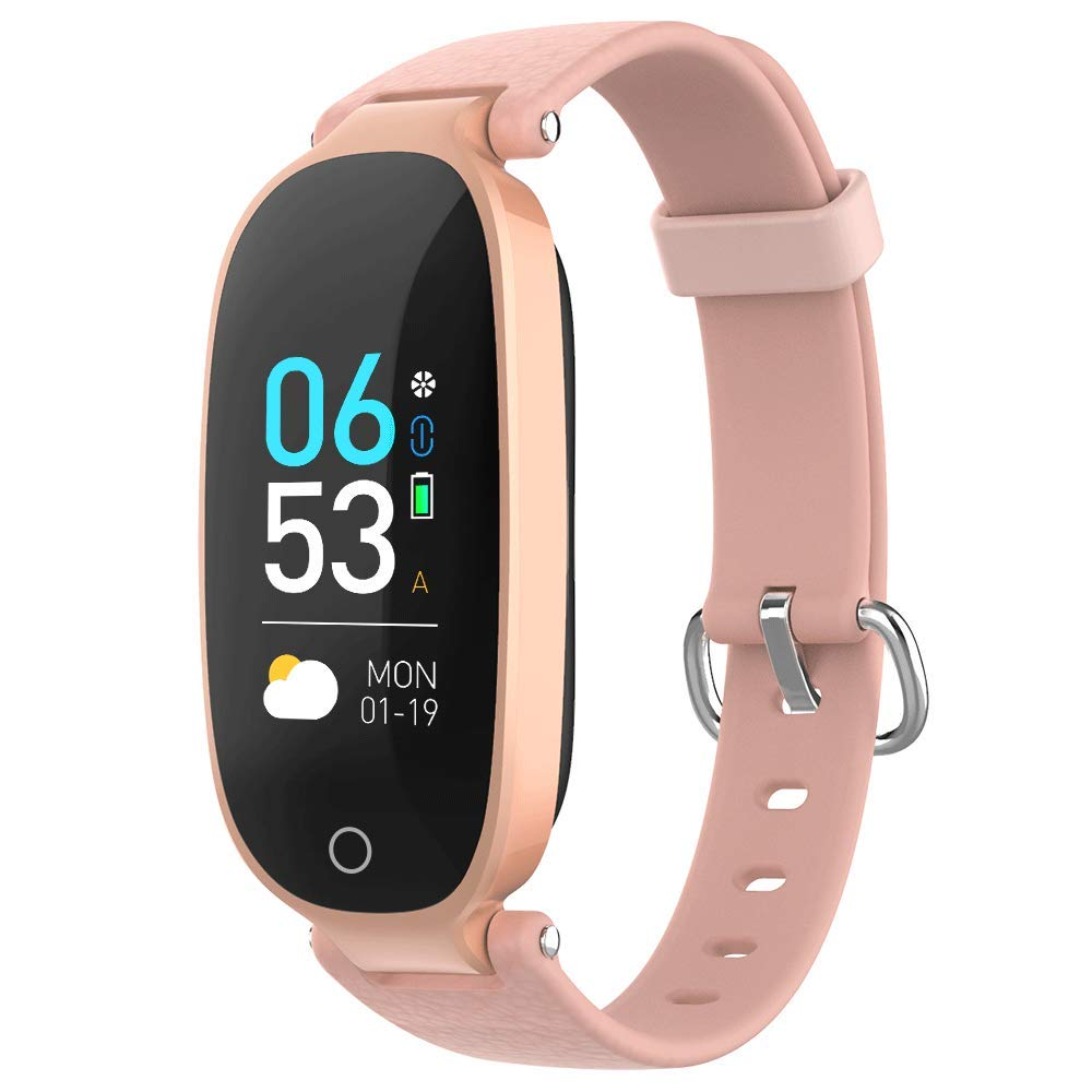 AGPTEK Fitness Tracker for Women, IP68 Waterproof Smart Bracelet with HD Color Screen, 16 Sport Mode Heart Rate Monitor Sleep Monitor Pedometer Calorie, Compatible with Android and iOS(Pink) by AGPTEK