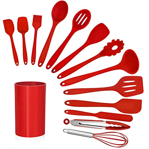 LIANYU 14 Pcs Cooking Utensils Set with Holder, Heat Resistant Silicone Kitchen Cookware Utensils Set, Kitchen Cooking…