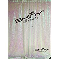 ShiDianYi 4FTx6FT-Transparent White-Sequin Backdrop, Shimmer Sequin Fabric Photography Backdrops Sequin Curtain for Wedding/ Party (Transparent White)