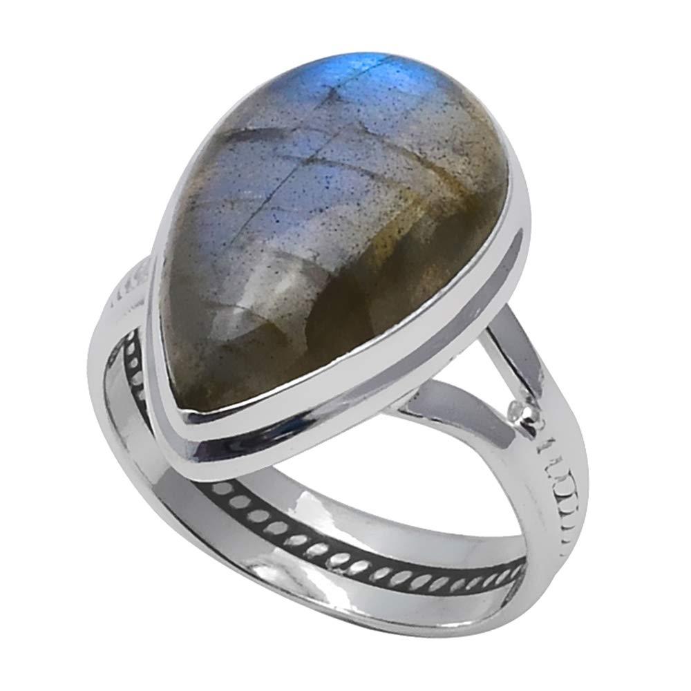 2SR0226 7.75 NiaoZaiFei YunZaiKan Genuine Labradorite Ring 925 Sterling Silver,USA Size