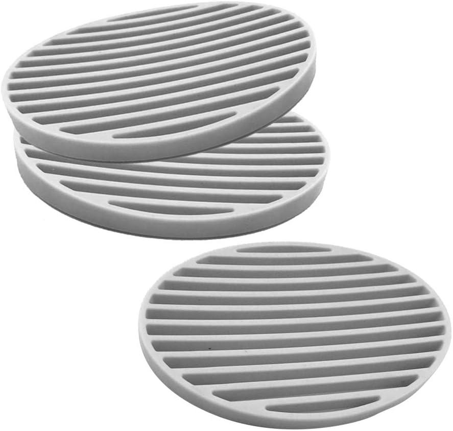 Grigio SUPVOX Silicone Sapone portasapone Ovale Vassoio Titolare di Assorbimento dAcqua Sapone saponetta per Bagno Cucina 3 Pezzi