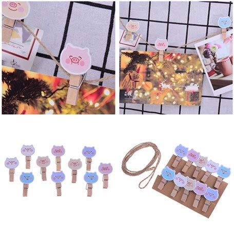 Home Office Storage - 10pcs Set Cute Pig Wooden Clip Wood Clips Photo Paper Craft Diy With Hemp Rope Stationery - Containers Office Cabinet Home Drawers Storage Lids Organization Boxes ()