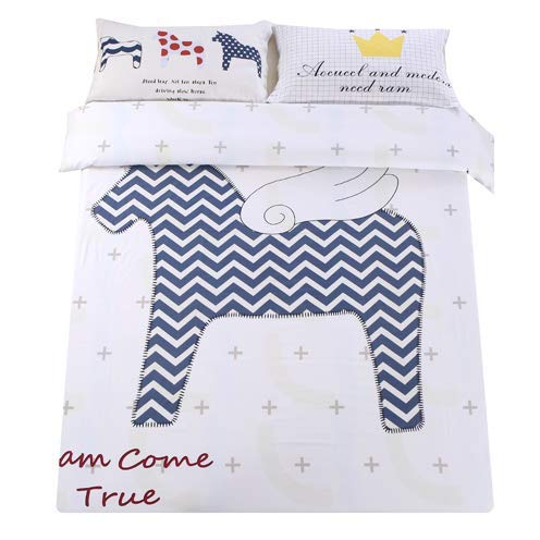 Sandyshow 2PC Horse Bedding For Children Twin Duvet Cover Set 100% Cotton, Full/Queen/King Size Optional (Full/Queen, Horse)