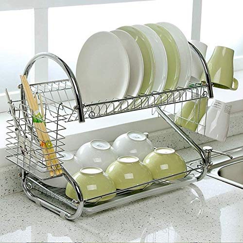 (MUTANG Draining Board 2 Tiers Drying Rack Dish Rack Draining Frame Crockery Drainer Crockery Stand Cutlery Basket Stainless Steel)