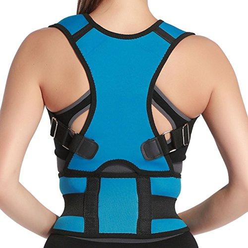 Fully Adjustable Back Support (Belly Sweat Belt Posture Brace Shoulder Back Support Back Posture Corrector Men Shoulder PostureTherapy Adjustable Posture Back Shoulder Corrector Support Brace Belt Size XXL Light Blue)