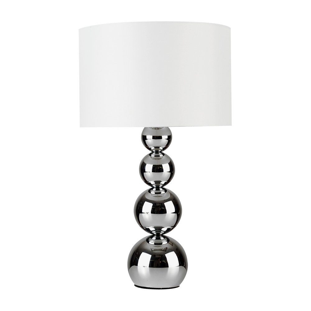 Large Modern Chrome Stacked Balls Touch Table Lamp With Stunning Black Faux Silk Shade MiniSun