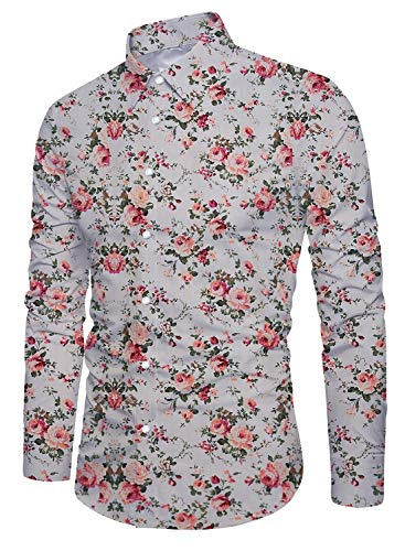 (Uideazone Men's Floral Print Slim Fit Long Sleeve Casual Button Down Shirt X-Large)
