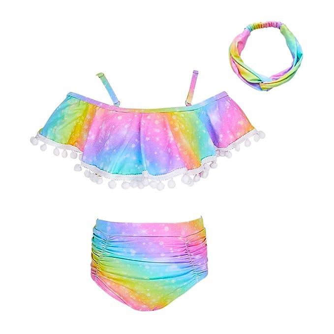 Amazon.com: ICOSY traje de baño para niñas con diadema para ...