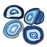 Extra Blue 4-5'' Natural Agate Coaster with Rubber Bumper Set of 4, By JIC Gem