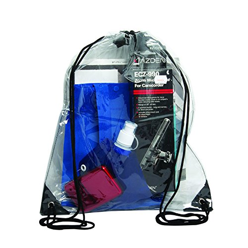 "Bags for Less Clear Drawstring Bag, Small Clear Bag For Stadiums, Sporting Events - 14"" x 17"" (Clear/Black)"