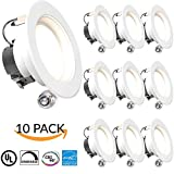 """SUNCO 10 PACK - 11Watt 4""""- Inch ENERGY STAR UL-Listed Dimmable LED Downlight Retrofit Baffle Recessed Lighting Kit Fixture, 3000K Warm White LED Ceiling Light, Wet Location -- 600LM, CRI 90"""