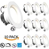 """SUNCO 10 PACK - 11Watt 4""""- Inch ENERGY STAR UL-Listed Dimmable LED Downlight Retrofit Baffle Recessed Lighting Kit Fixture, 3000K Warm White LED Ceiling Light, Wet Location - 600LM, CRI 90"""