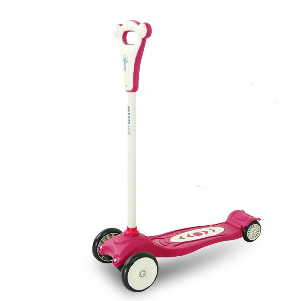 XUEYING-KickScooter Kinder 4-Rad-Riemenscheibe Riemenscheibe Auto Stable Scooter Einbein Scooter (Farbe   Rosa) Rosa