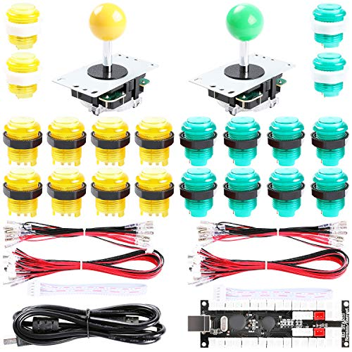 Easyget 2-Player DIY Arcade Kit Zero Delay 2-Player USB Encoder + 2X Joystick + 20x LED Arcade Buttons for PC, Windows, MAME, Mac & Raspberry Pi Retro Gaming DIY (Yellow & Green)