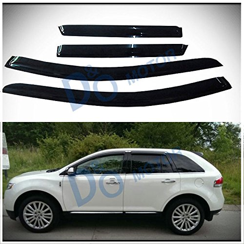 D&O MOTOR 4pcs Front+Rear Smoke Sun/Rain Guard Outside Mount Tape-On Vent Shade Window Visors For 07-14 Ford Edge 07-15 Lincoln (Front Vent Visor)