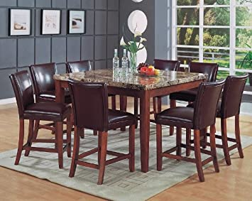 9pcs Marble Top Counter Height Dining Table & 8 Stools Set