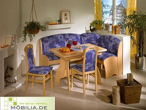 Eckbankgruppe blau Möbel Eckbank Holz 2 Stühle Esszimmer KIEL ...