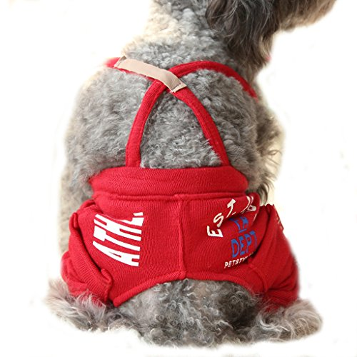 BBEART Dog Clothes,Pet Small Dogs Casual Rompers Clothes Puppy Cat Two Leg Pants Belt Pants Cotton Jumpsuit Clothing Small Dog Warm T-shirt Pet Apparel (S, Red)
