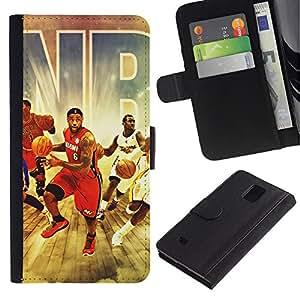 MobileX / Samsung Galaxy Note 4 SM-N910 / Basketball Team / Cuero PU Delgado caso Billetera cubierta Shell Armor Funda Case Cover Wallet Credit Card