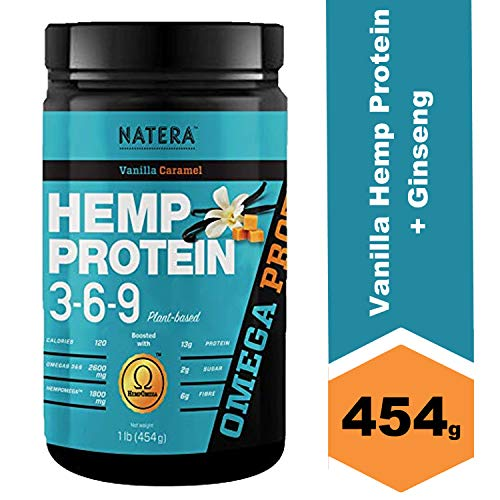 Best Hemp Protein Powder 369 (1 lbs) with Gingseng, Vanilla Caramel NATERA Keto Vegan Friendly Supplement, Boost Absorption, Great for Athletes and Body Builders | Omega 3 and 6