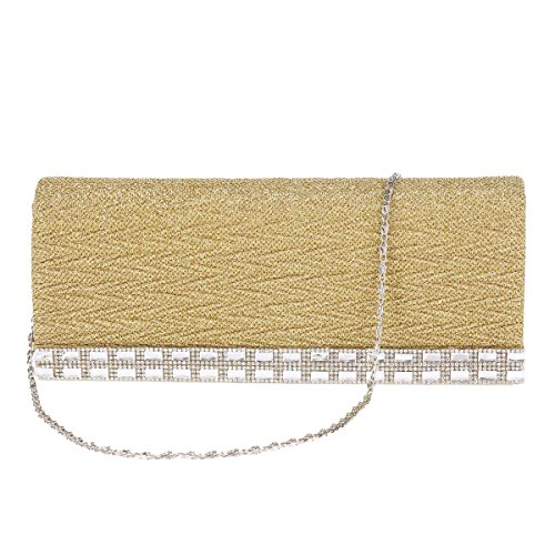 Glitter Bag Evening Damara Womens Gold Magnet Wavy Party Wrinkle 5T0670Wz