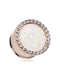 Rose Gold Opal Multi-Gem Ear Gauge Plug *Sold as Pairs*