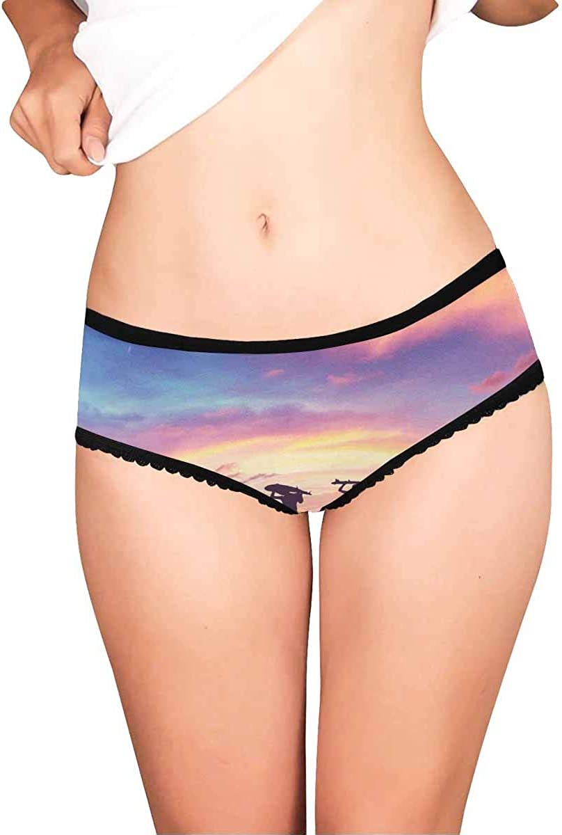 Moon and Stars Vintage INTERESTPRINT Womens Underwear Briefs Panty Sun
