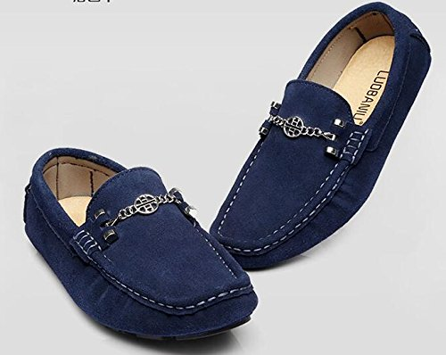 Happyshop (tm) Mens Mocka Loafers Skor Tillfällig Komfort Slip-on Kör Skor Loafers Tofflor Blå