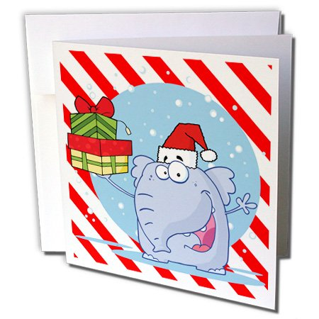 3dRose Goofy Elephant Christmas With Candy Cane Background - Greeting Cards, 6 x 6 inches, set of 12 (gc_61216_2) - Candy Cane Backgrounds