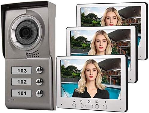 ドアベル、デジタルドアベル、7インチアパートメント3ユニット有線電話オーディオビジュアルエントリーシステム815MC13(UK)